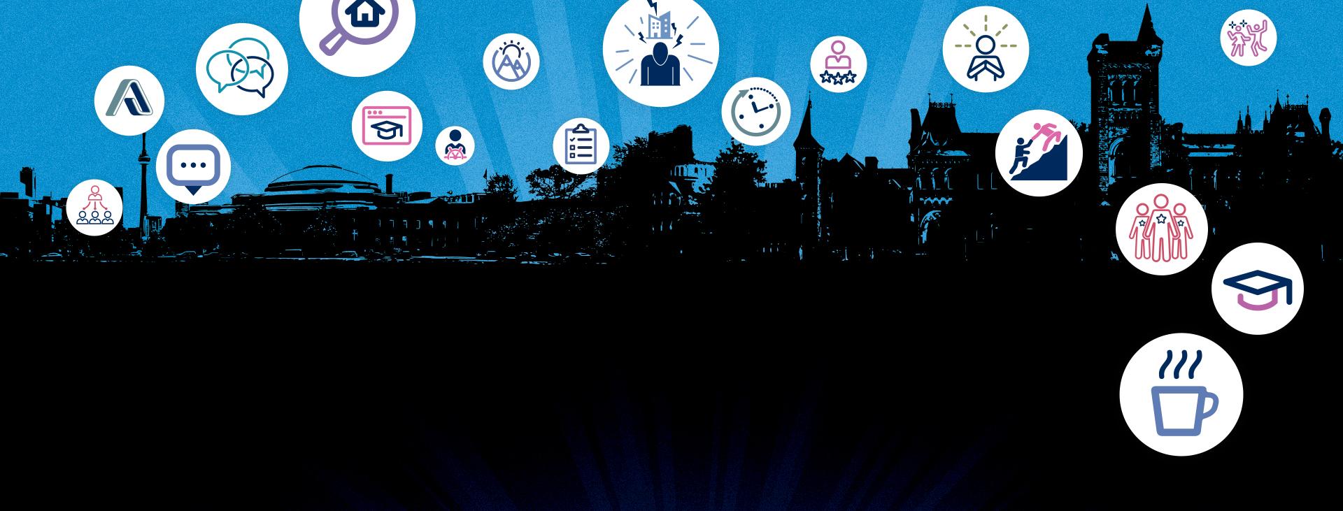 Illustrated campus skyline