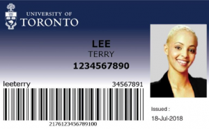 Example of a TCard, including name, photo, student number and barcode