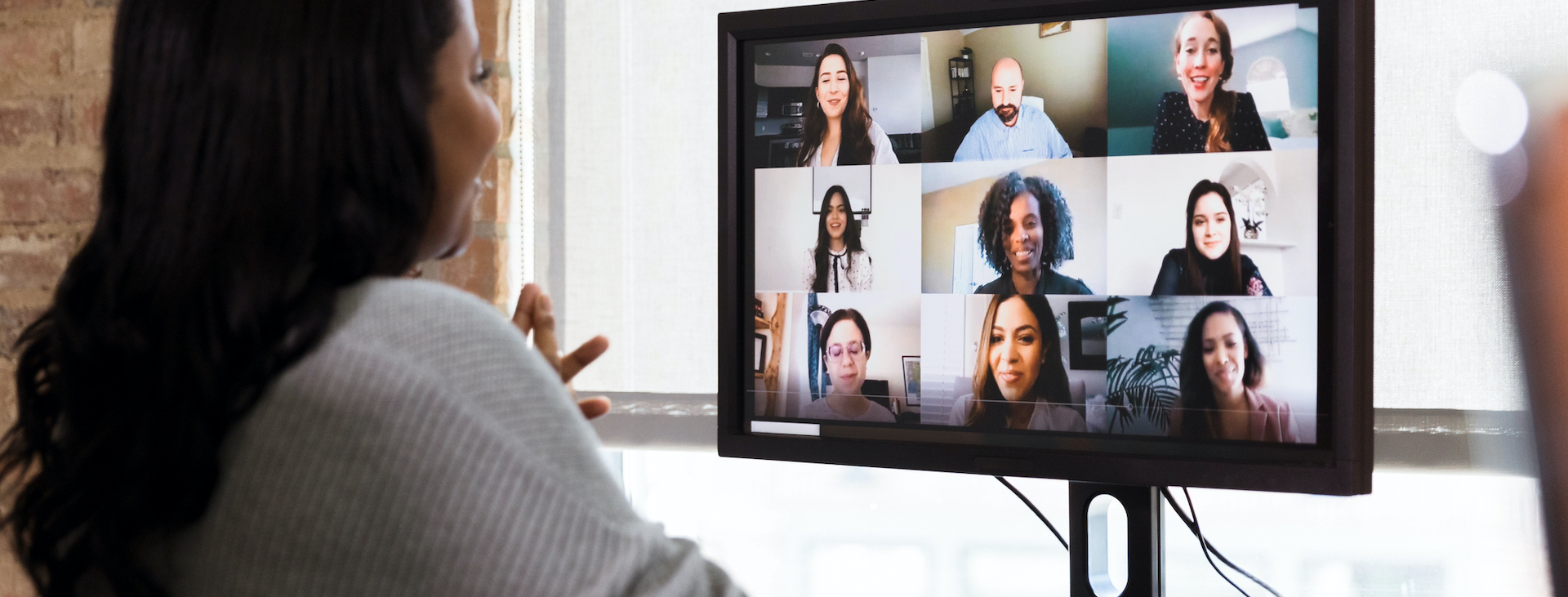 Woman joins group video call