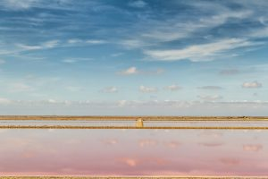Photo of beach with pink and blue tones