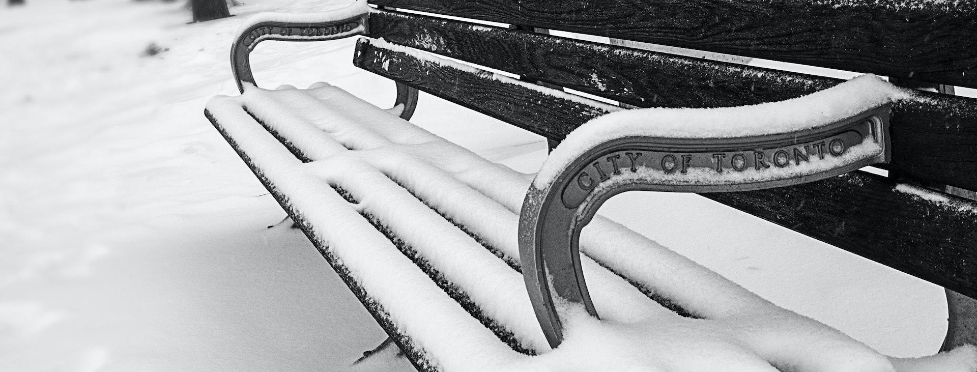 Snowy City of Toronto bench