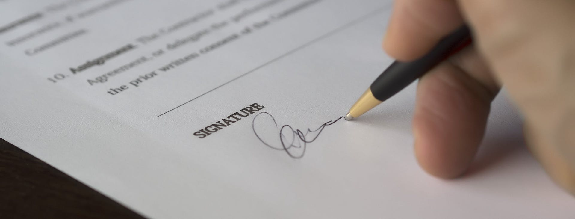 Hand signing document