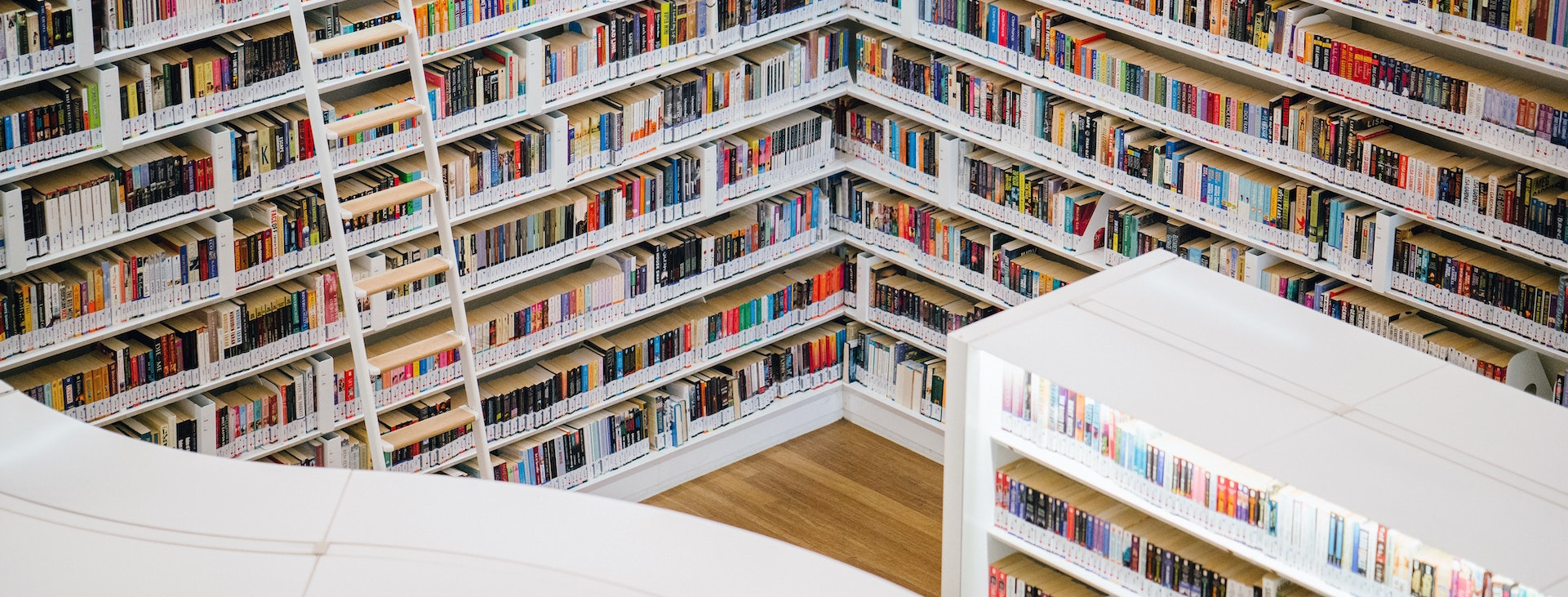 Colourful library shelves in Quebec City