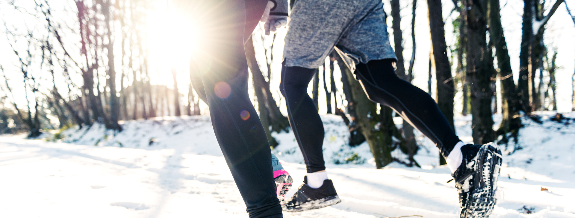 Feet running in the snow